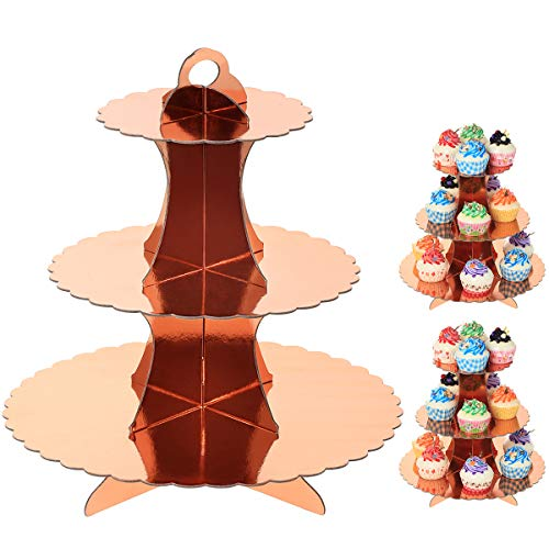 UltraOutlet Set of Three 3 Tiers Rose Gold Cardboard Cupcake Stands Disposable Paper Cupcake Holder Towers for Weddings Birthday Parties Baby Showers and Graduations
