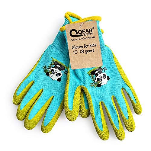 QEAR Safety Gartenhandschuhe für Kinder von 10 bis 13 Jahren, Handfläche aus Gummi, widerstandsfähig gegen Wasser und Schmutz, blau
