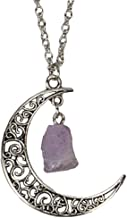SPUNKYsoul Magical Filigree Antiqued Silver Crescent Moon Natural Raw Amethyst Crystal Long Necklace for Women