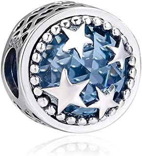 CKK 925 Sterling Silver Star Charms with Classic Blue Crystal Charms for Pandora Bracelets Jewelry Making