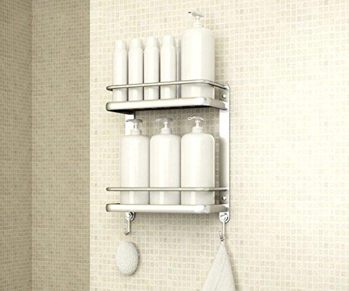Étagère Lingyun Supports muraux de Salle de Bains à Deux Niveaux en Aluminium de Deux étages de Haute qualité (Conception : # 2, Taille : 34 * 15 * 66cm)