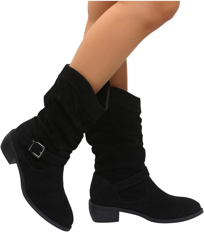 Masbird Boots for Women Knee High Wide Calf Buckle Strap Womens