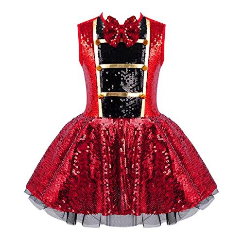 Alvivi Disfraz de Domadora de Circo para Nia Vestido Lentejuelas de Danza Vestido Sin Manga de Fiesta Navidad Halloween Carnaval Disfraz de Bailarina Rojo 15-16 aos