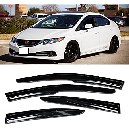 Ash Grey Outside Mount JDM Vent Visors Deflector 2pcs For Honda Civic SI 02-05
