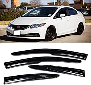VXMOTOR 2012-2015 Honda Civic Sedan Mugen II Style Window Visors Rain Guard Defector 4DR 2012 2013 2014 2015