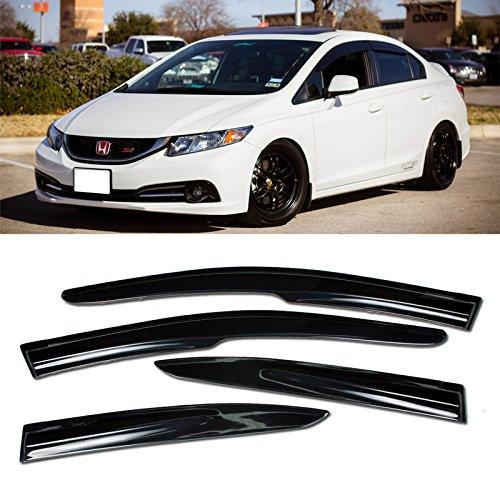 VXMOTOR for 12-15 Honda Civic Sedan 4DR - Mugen II Style Window Visors Rain Guard Deflector - Smoke Color 2012 2013 2014 2015