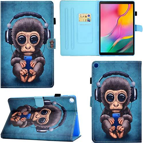 DodoBuy Funda para Samsung Galaxy Tab A 10.1' 2019 T510/T515, piel sintética con tapa y tarjetero con cierre magnético, diseño de mono