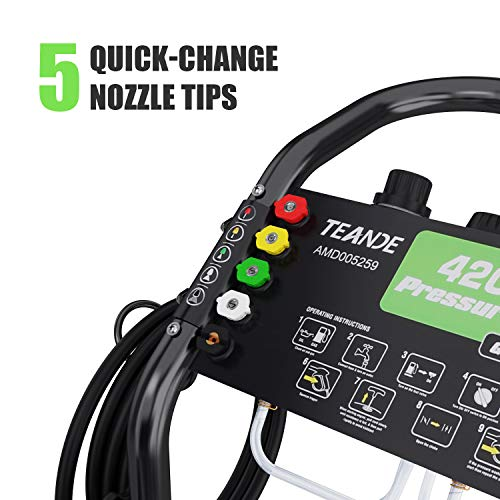 TEANDE 4200PSI Gas Pressure Washer Power Washer 3GPM 209CC Gas Powered Pressure Washer, 5 Adjustable Nozzles, 20ft Pressure Hose, Dual soap Tank (Black)