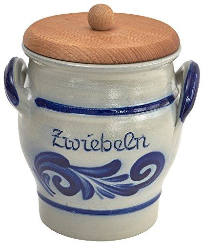 vivApollo Zwiebeltopf mit Holzdeckel Vorradsdose Original westerwälter Kannenbäckerland salzglasierte Steinzeug Keramik (onezize, geblaut)