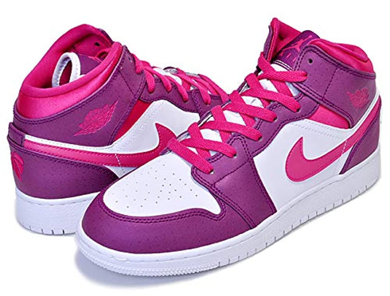 敵敬の念象[ナイキ] エアジョーダン 1 レディース AIR JORDAN 1 MID(GS) true berry/rush pink-white 555112-661 ウィメンズ スニーカー ガールズ AJ 24cm(US6Y) [並行輸入品]
