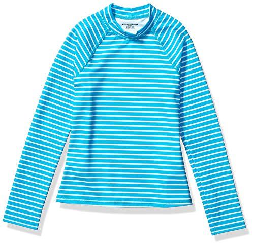 Amazon Essentials - Camiseta de manga larga de neopreno para niña, Azul (Blue Stripe), 128 cm (Talla del fabricante: M)
