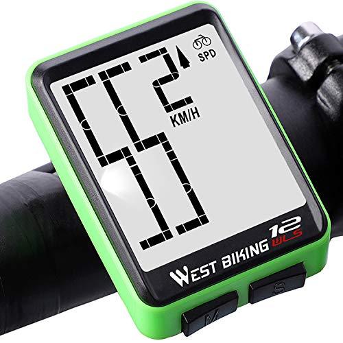 Lixada Contachilometri Bici Wireless, Contachilometri Contagiri Termometro Bici Retroilluminato Impermeabile per Tachimetro Bici Computer Bici Distanza, velocità, Tempo