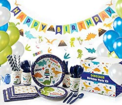 2. Whoobli All-in-One Dinosaur Party Supplies (152 pcs)