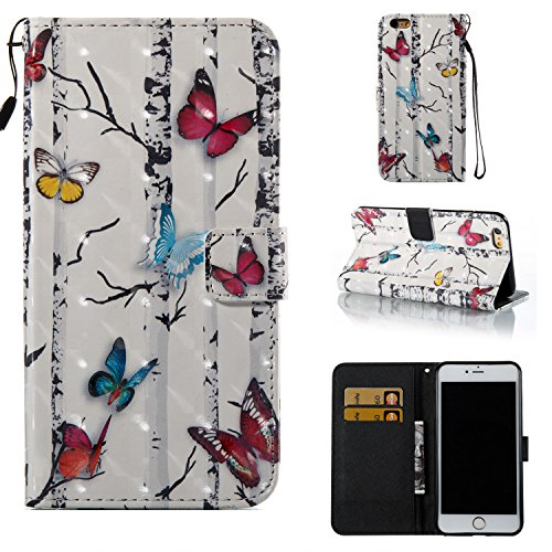Amocase Wallet Leather Case with 2 in 1 Stylus for iPhone 6 Plus/6S Plus 5.5 inch,Premium 3D Printed Magnetic PU Leather Card Slot Stand Fold Flip Case with Wrist Strap - Colorful Butterfly