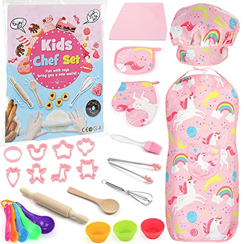 3 otters 29PCS Kids Chef Set, Kids Cooking and Baking Set Includes Kids Apron, Chef Hat, Cooking Supplies, Kitchen Utensils Chef Costume Career Role Play for Girl