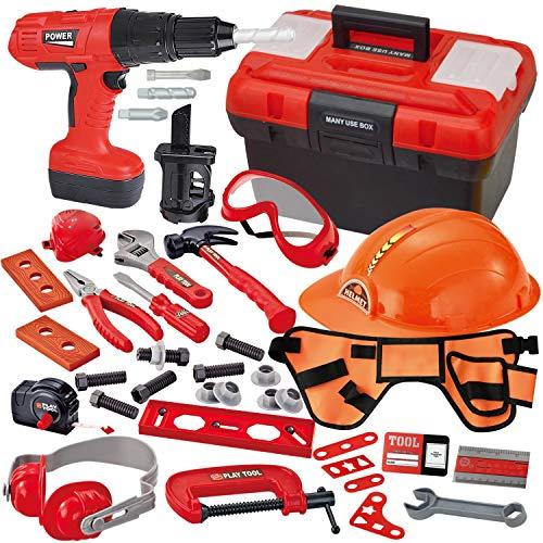 JOYIN 40-teiliges Werkzeugkoffer, Kinder Werkzeug Set Spielwerkzeug Rollenspielwerkzeug , Kit-Spielset mit Bauarbeitergürtel, elektrischem Spielzeugbohrer, Helm und Zubehör für Bauwerkzeuge