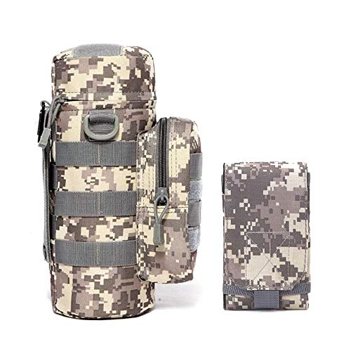 BIBU Tactical Pouch + Pistol Mag,Small Military Bags MOLLE Gear Compact Waterproof Pack Nylon EDC Utility Gadget Waist Bag Pack Holster Pocket,Drawstring Open Top Hydration Carrier,H2O Pouch (ACU)