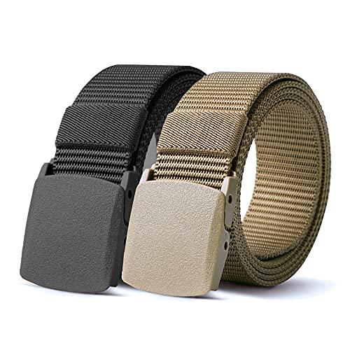 TENINE Tactische Militaire Riem, Verstelbaar Met Standaard YKK Plastic Gesp Voor Dames En Heren, Ideaal Voor Jachttraining Hardlopen Buiten (2 Stukken(Zwart+Bruin))
