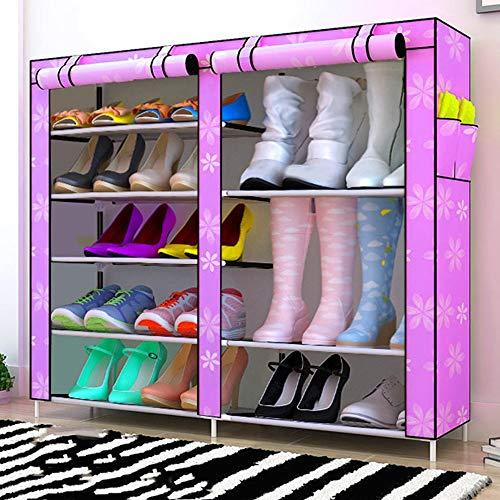 QFFL Chaussure Rack Simple Multi-couche Ménage Économique Économiseur d'Espace Dortoir De Stockage Anti-Poussière Petite Chaussure Rack Foyer Tissu Chaussures Armoire Range-chaussures (Couleur : B)