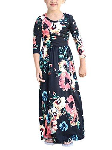 Dongpai Girls Floral Print 3/4 Sleeve Maxi Dress Casual Holiday Swing Long Maxi Dress with Pockets