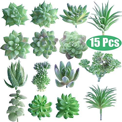 FEPITO 15 Piezas Artificiales Plantas suculentas Verde sin Manchas Faux Flower Succulents Mini Echeveria selecciones a Granel Tallos para el hogar decoración Interior de Hadas del jardín