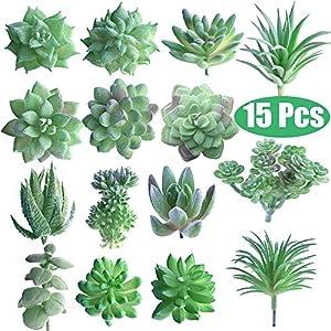 FEPITO 15 Piezas Artificiales Plantas suculentas Verde sin Manchas Faux Flower Succulents Mini Echeveria selecciones a…