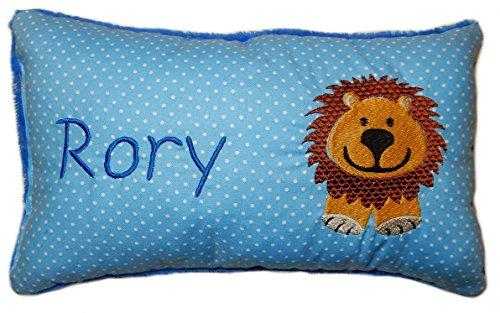 Blaues Schmusekissen * Kuschelkissen * Löwe * mit Namen bestickt * in zwei Größen