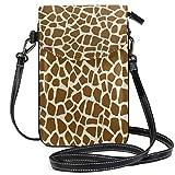 SLHFPX Women Mini Crossbody Shoulder BagGiraffe Skin Leather Smartphone Purse Handbags