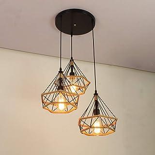 iDEGU 3 Lampes Suspension Luminaire Industrielle Lustre Plafonnier Vintage Luminaire Abat-jour Cage Diamant en Métal et Co...