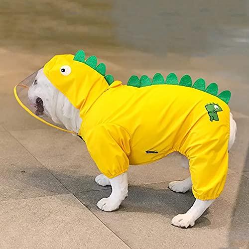 MDKAZ Ropa para Mascotas Chubasquero Bulldog Francés en Forma Dinosaurio para Perros Traje Lluvia Suave para Monos para días lluviosos Regalo para Mascotas-L