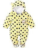 Minetom Unisex Bebés Recién Nacido Grueso Terciopelo Coral Mameluco Invierno Pelele Pijamas Niños Niñas Monos Caricatura Trajes Oso Polar Amarillo 12-18 Meses (86)