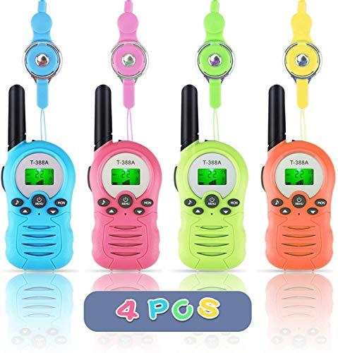 FancyWhoop Walkie Talkie für Kinder, 8 Kanäle 3KM Reichweite Funkgerät Set Walky Talky mit LCD Bildschirm Taschenlampe Funktion 4 Schlüsselbänder,Walki Talki Spielzeuge (4er Set)