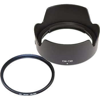 F-Foto Canon 18-135mm USMレンズ, RF 24-105mm F4-7.1 IS STMレンズに適合/EW-73D 互換 フード と 67mm レンズ 保護 フィルター セット EW-73DF-SET