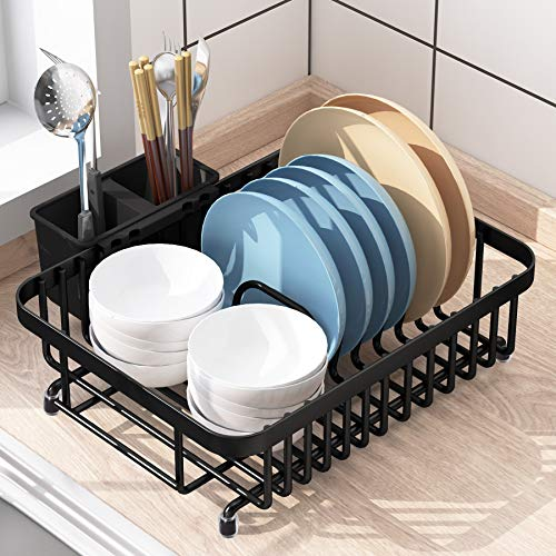 1Easylife Dish Drying Rack with Anti Rust Frame Small Dish Drainer Rack for Kitchen Counter Sink Dish Rack on Counter with Utensil Holder and Non-Slip Rubber Feet Rustproof for Organizer Storage