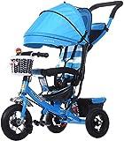 Triciclo es adecuado para 1-5 años de edad del bebé, el andador moto de tres ruedas de la carretilla, multifuncional,Blue