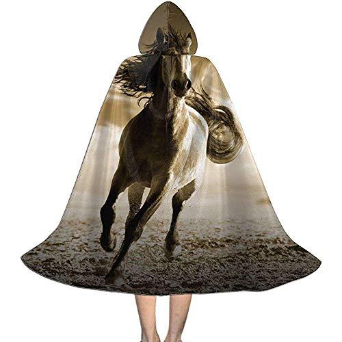 KDU Mode Heks Mantel, Hardlopen Paard Op Zand Kids Hooded Gepersonaliseerde Heks Capes Voor Halloween Kerstfeest 138cm