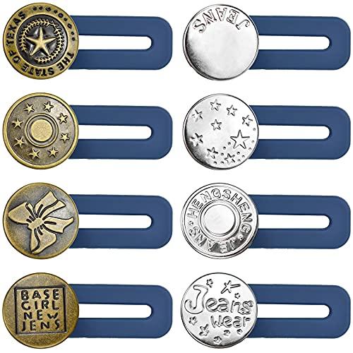 YUENX Extensores de Pantalones, 8 Piezas Boton retractil para Pantalones para Pantalones Vaqueros Pantalones Extensiones de CinturóN Extensores De Cintura, Longitud 3.5cm