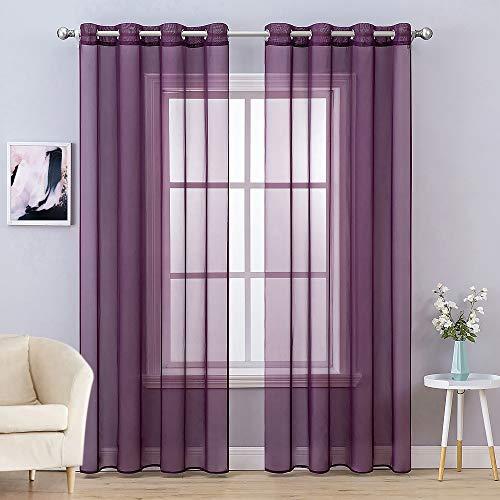 MIULEE 2 Panels Solid Color Plum Purple Sheer Curtains Elegant Grommet Window Voile Panels/Drapes/Treatment for Bedroom Living Room (54X96 Inch)
