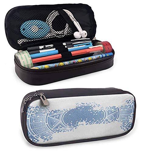 Geometrisches Bleistiftetui Alt Abgenutzt Altgriechisches Mosaikmuster Antike Historische Runde Fliesen Artwork Mesh Pocket Layers Mehrere Reißverschlusstaschen Hellblau