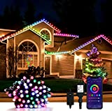 Smart Outdoor String Lights Peteme, 50LED 42ft Waterproof Color Changing WiFi String Lights Sync to Music Christmas Tree Lights App Controlled Works with Alexa/Google/Siri