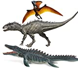 Gemini&Genius 3Pcs Dinosaur World Super Colossal Indominus Rex, Pterosaur and Mosasaur with Movable Mouth Realistic Tyrannosaurus Rex Figurine Berserker-Rex Christmas and New Year Gift for Kids