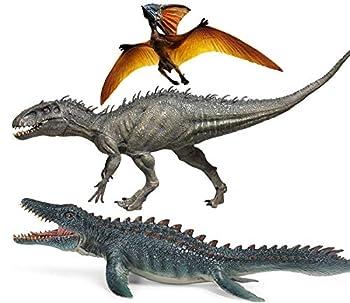 Gemini&Genius Jurassic Dinosaur World Super Colossal Indominus Rex Pterosaur and Mosasaur Set with Movable Mouth Realistic D-Rex Figurine Berserker-Rex Birthday Gift for Kids(3 Pcs)