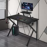 """LYNSLIM Gaming Desk with Monitor Shelf - 40"""" PC Computer Table Gamer Workstation for Home Office Y Shaped ErgonomicGaming Table, Cup Holder&Headphone Hook, Black"""