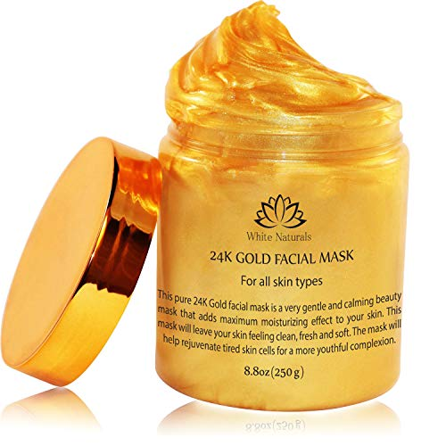 24K Gold Facial Mask By White Naturals:Rejuvenating Anti-Aging Face Mask For Flawless Skin, Reduces Fine Lines &Wrinkles,Clears Acne,Minimizes Pores,Moisturizes & Firms Up Your Skin