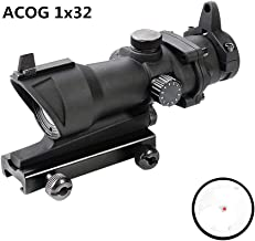 Luger ACOG Style 1X32 Tactical Red Dot Optic Sight Rifle Scope 20mm Rail Mount