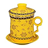 Bciou - Juego de tazas de té con filtro y tapa y platillo (cerámica), diseño chino