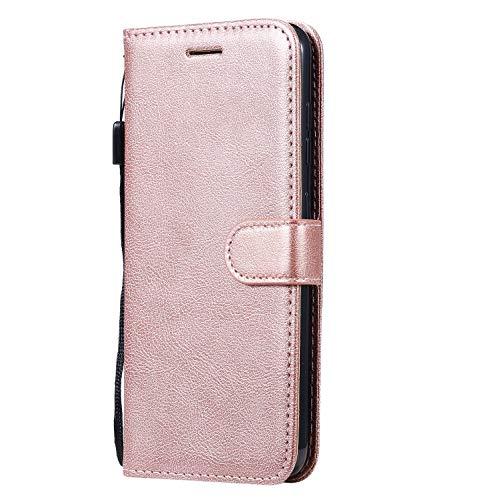 Fatcatparadise Cover Compatibile Nokia 4.2 [con Pellicola in Vetro Temperato], Cuoio Portafoglio Flip Case Conception Simple Wallet Case Custodia in PU Lussuosa Cover (Oro Rosa)