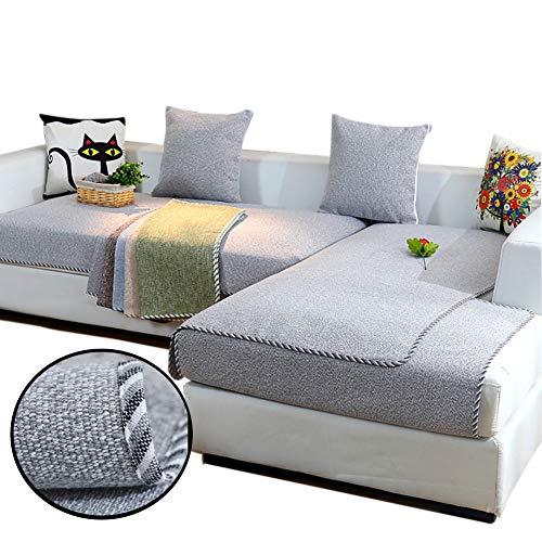 Love House Reversible Sofa Überwurf, Leinen Schnitt Schonbezug Sofa Schmutzresistent Sofaüberwurf Sofa Throw Einfarbig Sofa Abdeckung -grau 70x150cm(28x59inch)