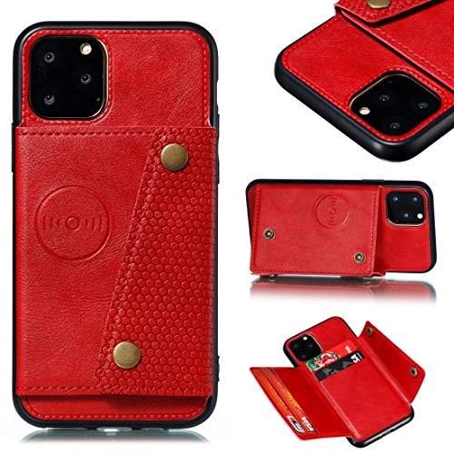 GUODONG Carcasa de telefono for iPhone 12/12 Pro Conexión Protectora de Cuero con Soporte y Ranuras for Tarjeta Funda Trasera para Smartphone (Color : Red)