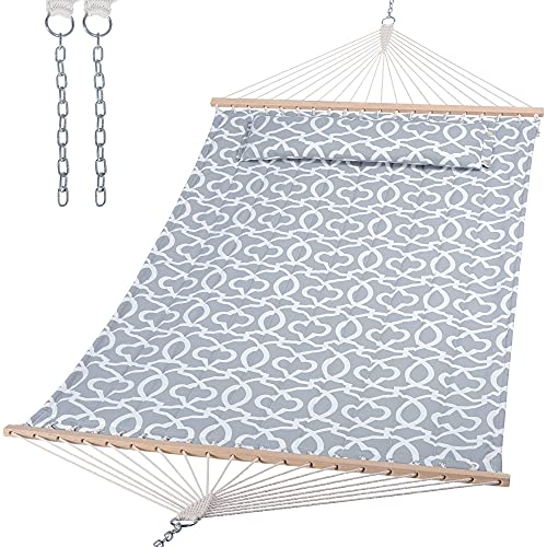 SUNCREAT Double Quilted Hammock with Hardwood Spreader Bar, Extra Large Soft Pillow, Heavy Duty 2 Person Hammock for Indoor, Outdoor, Grey Pattern
